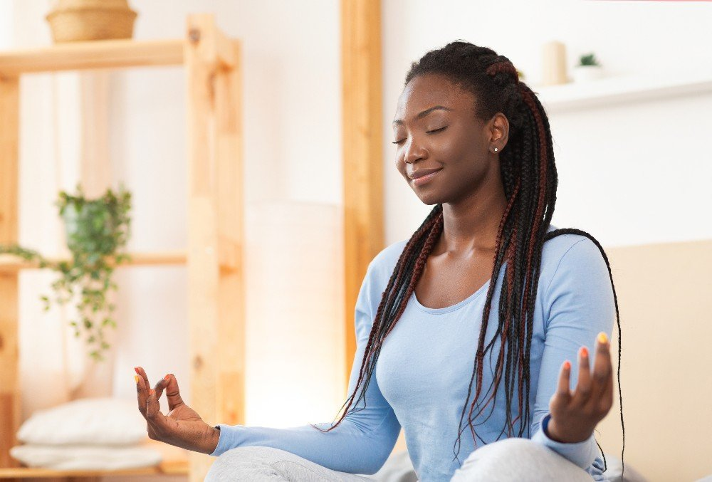 A girl on her meditation routine.