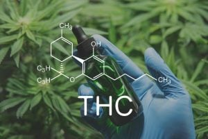 THC chemistry formula and a bottle.