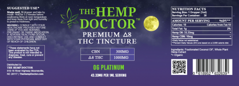 Delta 8 1000 mg + CBN 300 MG Platinum OGz flavor