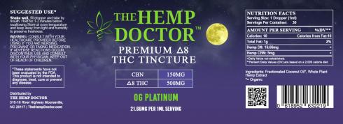 Delta 8 500 mg + CBN 150 MG Platinum OG flavor