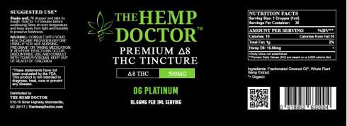 Delta 8 THC 500 mg Platinum OG flavor