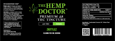 Delta 8 THC 500 mg Zkittles flavor