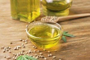 Hemp oil in a bowl.
