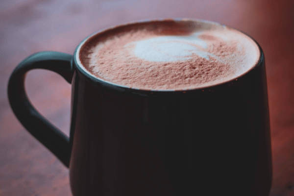 Hot coco in a large mug