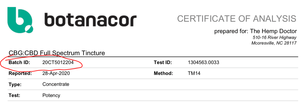batch number on COA