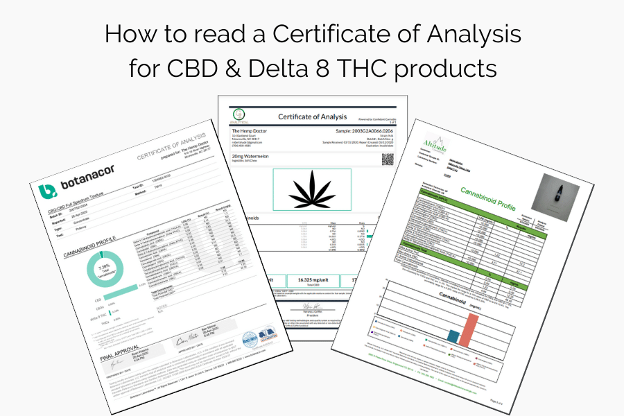 how to read a COA for CBD & D8 THC products